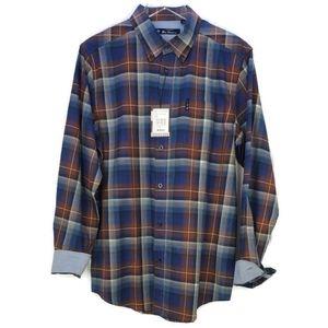 NWT Ben sherman ombre check coffee button shirt